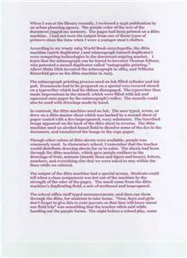 How this article might look if printed on a ditto machine.  Click to enlarge.