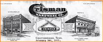 Crisman Hardware letterhead.  Click to enlarge.