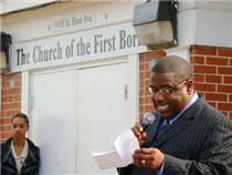 Pastor Alfred Johnson at the groundbreaking ceremony.  Click to enlarge.