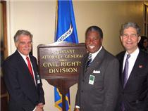 Pictured left to right are Dr. Robert Groves, census director, Dr. Bernie Miller, African American Census advisory chairman, and Attorney Cameron F. Kerry, General Counsel Department of Commerce.