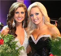 First runner-up Miss Chattanooga Nicole Mazzio and third runner-up Miss Metropolitan Lacey Alford celebrate following their top five finish at Saturday's Miss Tennessee Pageant in Jackson.
