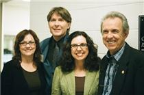 "Randall Franks (second from left) visits backstage with his friends Grand Ole Opry stars - the Whites, (from left) Cheryl, Sharon and Buck, who performed to honor the 2010 IBMM Pioneers. Franks and the Whites shared a top country vocal collaboration in 1991 with ""Let's Live Everyday Like It Was Christmas."""