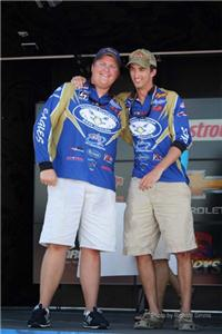 <i>Wesley Maples (left) and Jed Thigpen from Georgia Southern Bass Team won the FLW Collegiate event on Chickamauga Lake Saturday.</i>