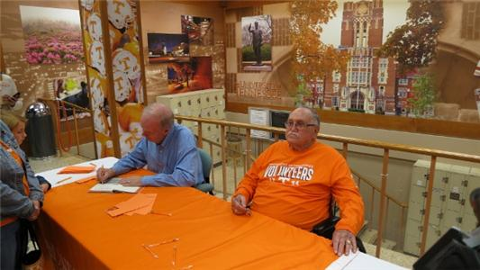 Tom Mattingly, left, and Earl Hudson at UT bookstore book signing.
