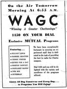 Advertisement for the new WAGC radio station