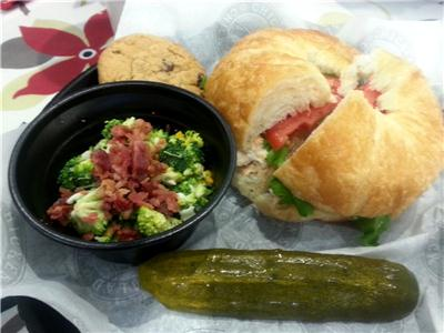 Jazzy Julie combo with chips, a pickle, cookie and a side order of broccoli salad