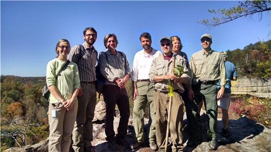 Tennessee Natural Areas Division staff at Pogue Creek Canyon State Natural Area, including (left to right): Sunny Fleming, Brian Ross, Brian Bowen, Roger McCoy, David Withers, Lisa Huff and David Lincicome.