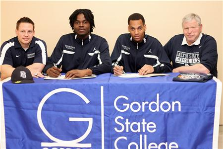 Gordon State basketball coach Israel Ingle, new Dalton State players Denarious Lockhart and Devonte Thornton, and Roadrunner basketball coach Tony Ingle