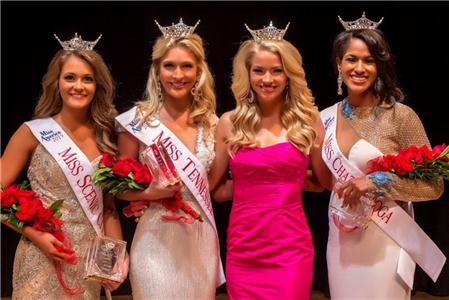 Miss Tennessee 2014 Hayley Lewis (pink) gathers with the winners of Saturday's Scenic City Pageants at Chattanooga State (left to right) Miss Scenic City Hannah Robison of Martin, Miss Tennessee Valley Sydney Shadrix of Nashville and Miss Chattanooga Stephanie McKain of Murfreesboro.  Eighteen women, some of whom traveled from as far as Memphis, competed for the titles in a program that has produced five of the last twelve Miss Tennessee winners including Miss Lewis who was the Tennessee Valley representative when she won the title in June.