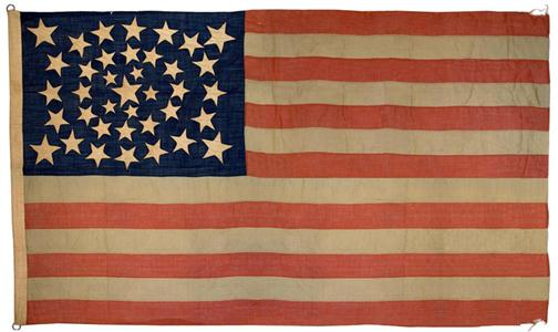 The new Hardwick Clothes flag is a 38-star version of Old Glory that existed when the company began in 1880
