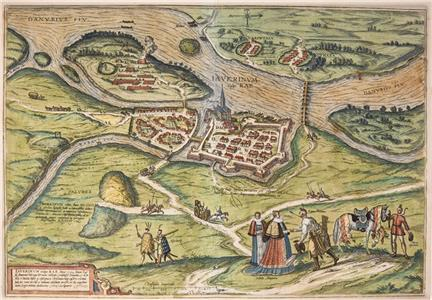 A bird's-eye view of Györ in Hungary; made by Georg Braun and Frans Hogenberg in Cologne, 1598.