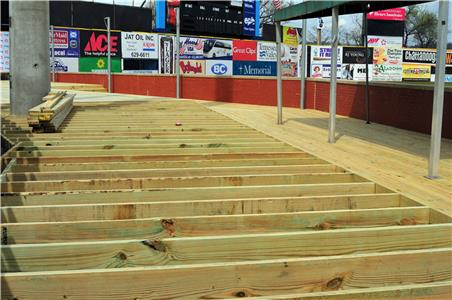 A new Delta Dental Deck down the third base line is being constructed.  By raising even the lowest level of seating by over a foot, the Delta Dental Deck will provide fans down the third base line with a great view of the game, even when seated.