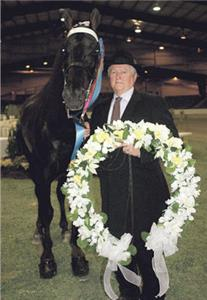 Jimmy McConnell and his winning horse, A Bruce Pearl, stand in the winner's circle at a horse show after the horse kicked his groom in the head and McConnell then fired the guy.