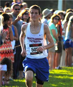 Jonathan Boyd of the Chattanooga Patriots finishes first in the first cross country race of the season Tuesday at Camp Jordan.