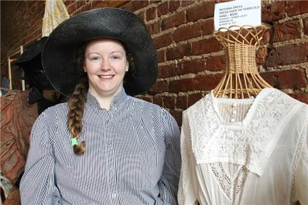 Pictured is Jessica Harper-Brown of the Depot Museum Annex, in period clothing of the 1890s