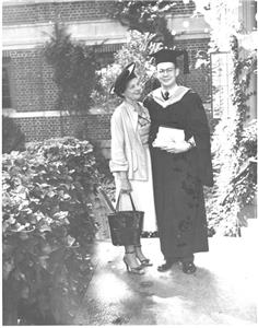 Jerry Cuthbert with his mother at his graduation from Webb Institute, 1956