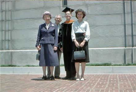 Jerry Cuthbert with wife, Adele, at the U. Cal. Berkeley campus. Jerry has just received his Doctorate in Engineering diploma. The lady at left is a cousin, with her husband.