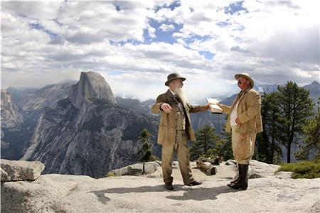 Reenactment of John Muir and President Teddy Roosevelt's (played by Joe Wiegand) camping trip in Yosemite Valley to discuss the future of a National Park system.