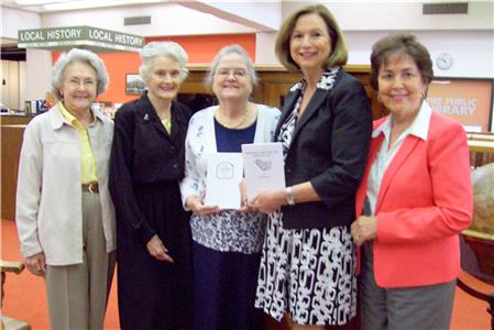 Lenore Levy; LaVonne Jolley, honorary state president of CDXVII Century, Judy Bean, CDXVII Century Chapter librarian; Mary Helms, head of Genealogy Department at Public Library; and Pauline Moore, president of Prudhomme Fort Chapter