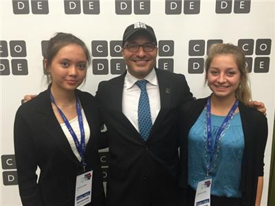 STEM School Chattanooga students Apsara Beard and Alyssa Malo with Code.org CEO/Founder Hadi Partovi at the National Governors' Association conference in Iowa where they helped governors from across the country learn more about coding