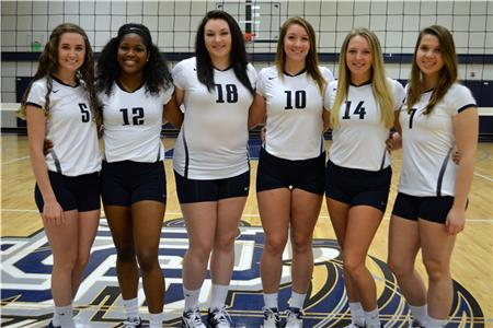 New to Dalton State volleyball this year will be (from left) Brooke Elizabeth Thomas, Taylor Dowdell, Kayla Renee Wimpee, Ryan Burke, Cassandra Kaye Cox,  and Julia Spier Borges