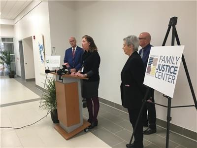 From left, Hamilton County Sheriff Jim Hammond; Dr. Valerie Radu, executive director of the Family Justice Center; Councilwoman Carol Berz, and Second Life CEO Jerry Redman