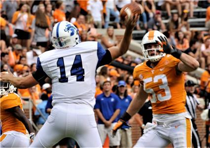 "Tennessee linebacker Colton Jumper (53) draws a bead on the Indiana State quarterback in a game earlier this year. Jumper, a former Baylor School standout, had this to say about Team 121's chemistry: ""We're a team, it's not just one side of the ball. So it doesn't matter if one side is doing better, it just comes down to who you are as a team."""