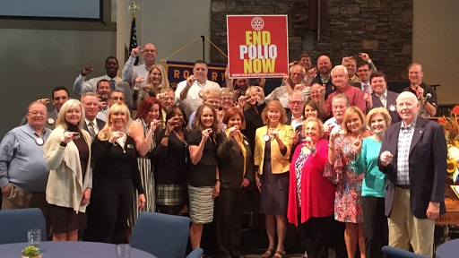 Rotary Club of Chattanooga Hamilton Place with the sign END POLIO NOW
