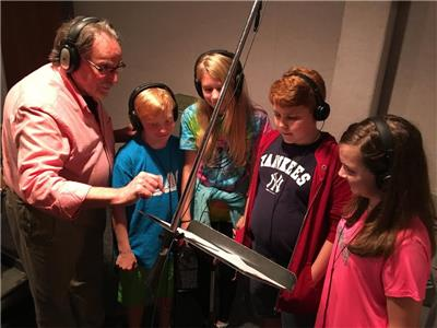 Recording the concert version of the Tailor of Gloucester are music composer Michael Huseman (left) and actors Alex Champion, MaKayla Petriccione, Zachary Huseman and Lauren Hayes