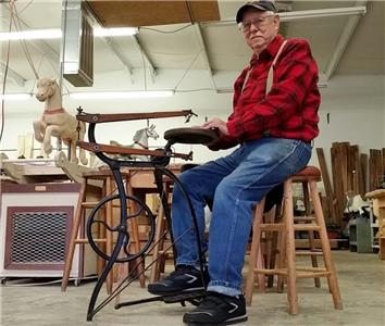 Bud Ellis, with a 1900's-era, foot-powered jigsaw, will give woodworking demonstrations at Vintage and More Saturday afternoon