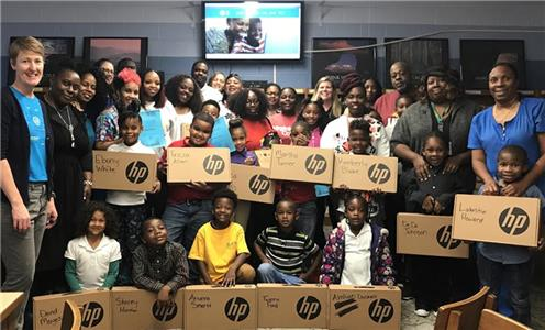 Families finished the Tech Goes Home Chattanooga program at Barger Academy. Upon graduation of the program, participants can purchase a Chromebook for $50.