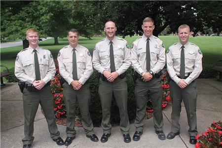 The class of 2017 TWRA wildlife officers, from left, are David Holt, Michael Bobel, Kendall Fletcher, Ethan Davis and Jamie Greenwood
