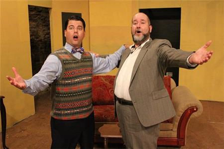 Pictured from left, Max (Justin Young) gets opera singing lessons from the world-famous Tito Merelli (Ed Huckabee).