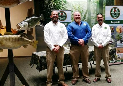 Mike Jolley (center) represents TWRA at many events to educate Tennesseans about fish. Also pictured, Jon Ellis (left) and Brandon Ragland (right)