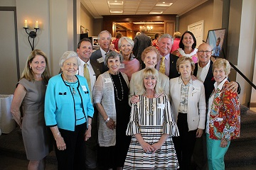 Former Chambliss Center for Children board chairmen gathered for a photo. Pictured are, left to right: (front) Susan Stein; (second row) Mary Aho, Carolyn Ballard, Betty Whaley, Carolyn Guerry, Sue Ingham, and Betsy Caldwell; (back row) Phillip Harris, Mike St. Charles, Marie Thatcher, President and CEO Phil Acord, Catharine Daniels, and Paul Jacobs, Jr.