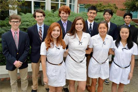 From left, front row, GPS students Sophie Veys, Tatiana Poggi, Kate Thel, and Margaret Lim. Back row, from left, McCallie students Chase Gaume, Gavin LaPlace, Andrew Landsbergen, Allen Liu, Jaewon Sung, and Ahmad Nisar.