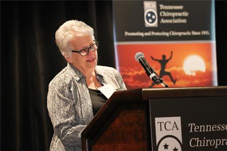 Dr. Mary Babian, 2017 TCA Conference Honoree, addresses guests at their awards luncheon in Franklin