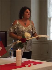 Nancy Ward descendant and author Debra Yates speaks at the Chapter luncheon