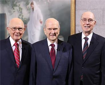 From left, ?Dallin H. Oaks, Russell M. Nelson, and Henry B. Eyring?