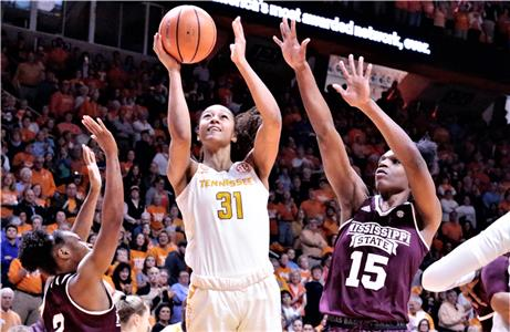 Tennessee's Jaime Nared (31) puts up a shot between Mississippi State's Morgan William (2) and Teaira McCowan (15) during the Lady Vols' game with the Bulldogs Sunday afternoon at Thompson-Boling Arena. The No. 6 Lady Vols (16-3, 4-2 SEC) lost to No. 3 Mississippi State (20-0, 6-0 SEC), 71-52.