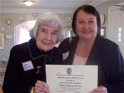 The annual Chapter Dame of the Year was awarded to Janet Cantrell, on right, by Joan Hanks