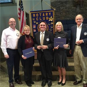 Pictured from left to right:  Kevin Beirne, HP Club member and Rotary Foundation representative; Cindy Rhodes; Stephen Pike; Susan Johnson; and Frank Gibson, all HP Club members