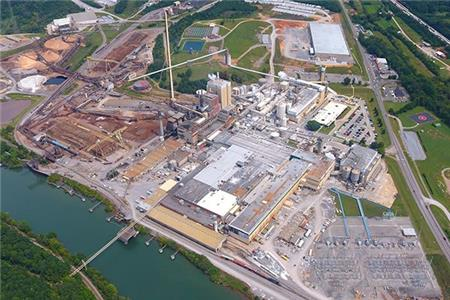 Aerial view of Resolute Forest Products in Calhoun