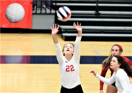 Baylor's Elaine Redman (22) with a set during the Lady Raiders' 3-1 loss to Briarcrest Wednesday morning at Siegel High School in Murfreesboro. Baylor's loss in the DII-AA match in the TSSAA state volleyball tournament sends them into the loser's bracket match against Harpeth Hall at 2:30 p.m. (CDT).