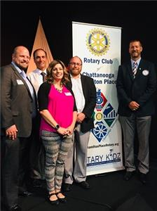 Pictured, from left to right: John Cochol, director, Red Wolves Club Services; Robert Pollard, Hamilton Place Rotary Club member; Terri Lee, Red Wolves Community Relations director; Sean McDaniel, Red Wolves general manager and speaker; Chris Neighbors, Hamilton Place Rotary Club President.