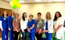 DAISY Award nominees from left to right: Brandi Welch, RN; Dawn Roper, RN; Katie Moore, RN, FNP; Melissa Myers, RN; Vickie Martin, RN; Linda Hoefsmit, RN; Dana Hill, RN; Audrey Hedden, BSN, RN and not pictured, Stephanie Forbess, BSN, RN