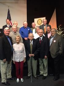 Pictured are Rotary Club of Chattanooga Hamilton Place club members and guests who are veterans: Joe Dana, speaker and Chris Neighbors, HP Rotary Club president