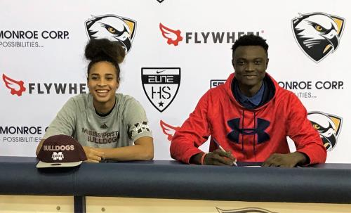 Hamilton Heights' Esmery Martinez, left, and Jason Itodo signed college basketball scholarships with Mississippi State and Gardner-Webb, respectively.