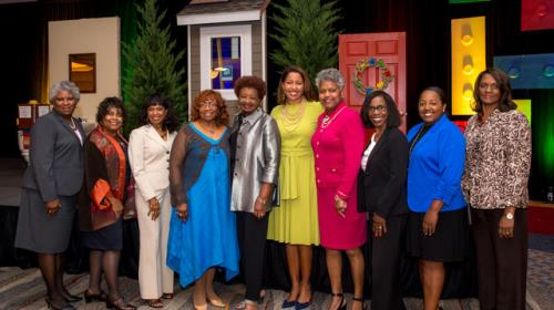 Pictured are Mary Cameron, Faith Edwards, Jacqueline Lyons, Delores Mitchell, Beverly Johnson, Natosha Reid Rice, Virginia W. Harris, Deborah Flagg, Dionne Jennings and Carolyn Dozier