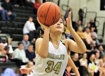 Junior Alexis Barnes of Bradley Central eyes a shot Tuesday night against William Blount. Barnes made 3 of 5 shots for six points in the Bearettes' lopsided 58-18 win to go 2-0 on the young season.